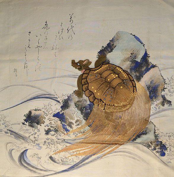 Drawn sea turtle japanese turtle Fukusa Waves Embroidered Turtle Hand