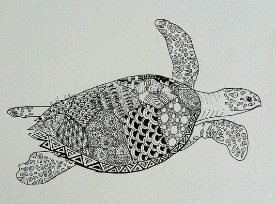 Drawn sea turtle pattern Photo#26 Sea Drawing Turtle Sea