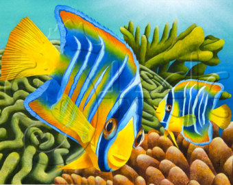 Drawn sea turtle queen angelfish Painting coral Carolyn Etsy Queen