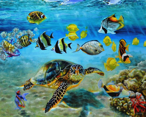 Drawn sea turtle queen angelfish Fish @deviantART turtle Hawaiian and