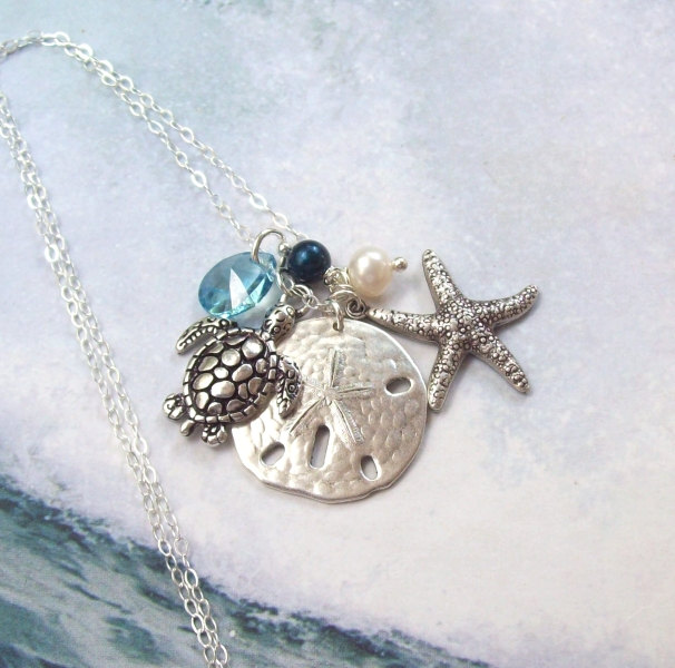 Drawn sea turtle silver dollar Starfish Turtle Tropical necklace Necklace