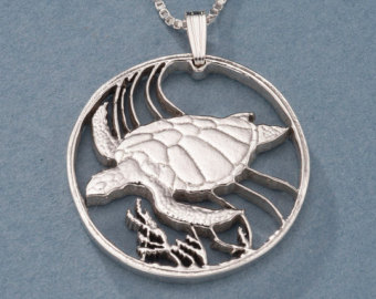 Drawn sea turtle silver dollar Cut Silver One Turtle Hand