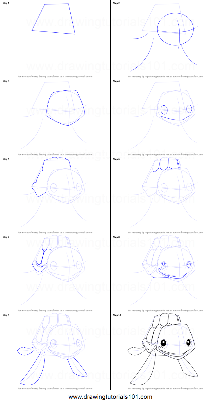 Drawn sea turtle step by step By Turtle How Jam step
