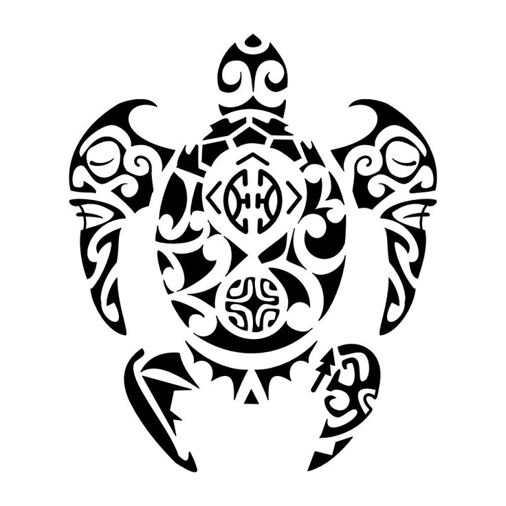 Drawn sea turtle tiki Front with flippers Tribal 172
