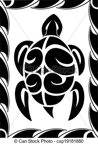 Drawn sea turtle tiki Illustrated csp19181880 Tiki high Vector