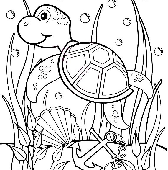 Drawn sea turtle underwate animal Baby turtle coloring ColoringStar underwater