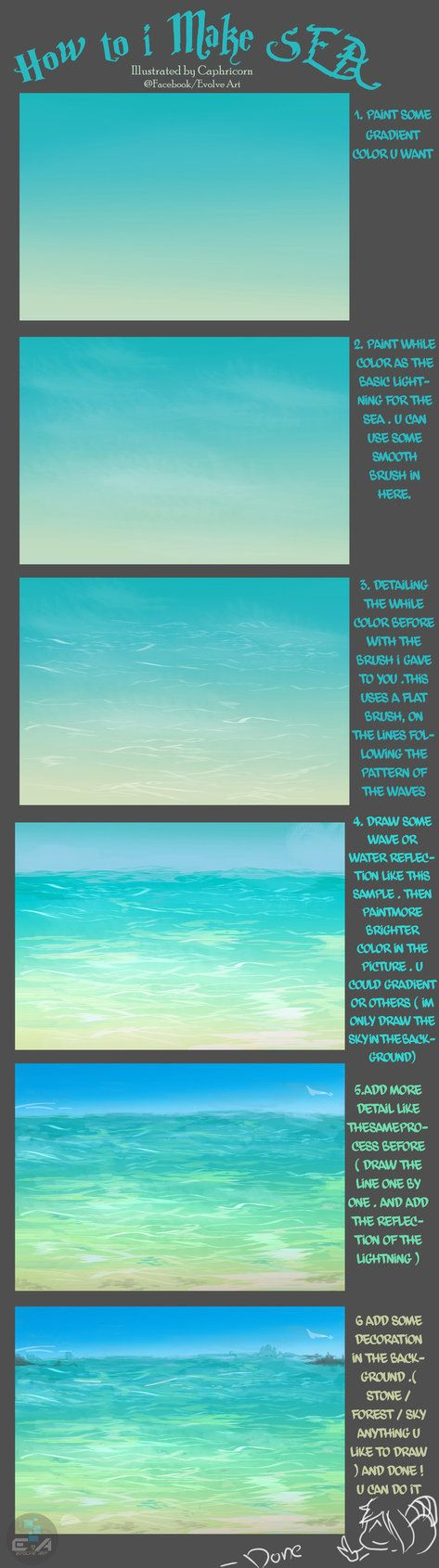 Drawn sea water surface Art more How Pin Find