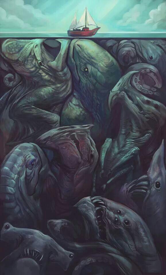 Drawn sea water surface Monsters More bigger bigger Sea