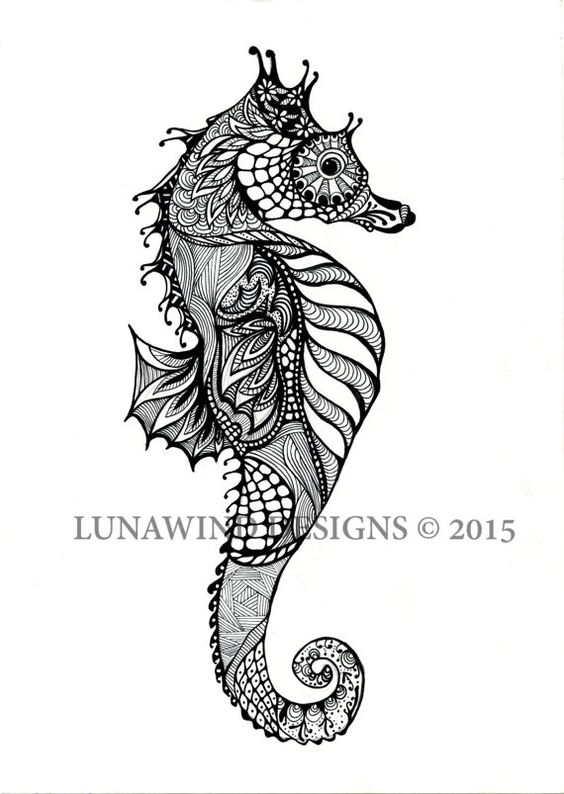 Drawn seahorse Signed seahorse seahorse print print