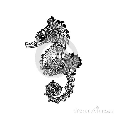 Drawn seahorse Stock Stock Style Image: Vector