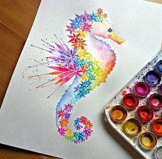 Drawn seahorse art deco On Veri Seahorse Artwork Published