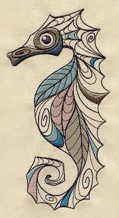 Drawn seahorse art deco Seahorse Embroidery Only 45 Seahorse