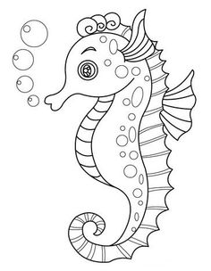 Drawn seahorse baby Kleurplaten draw … Zeedieren a