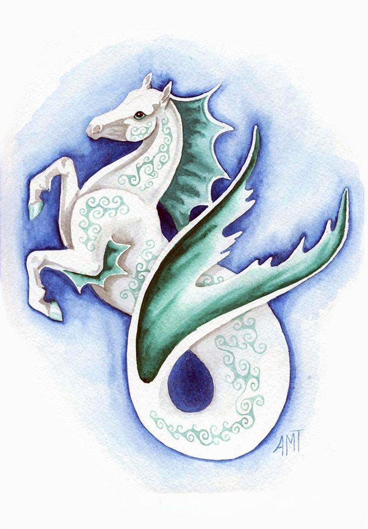 Drawn seahorse deviantart Seahorse merimask tattoo Pinterest merimask