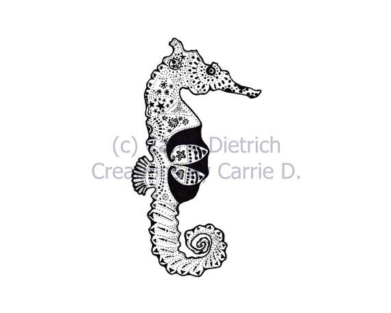 Drawn seahorse vector Pen Art Art and Seahorse