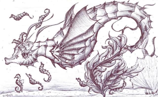 Drawn seahorse dragon Dragon Pinterest Sea seahorse Dragon