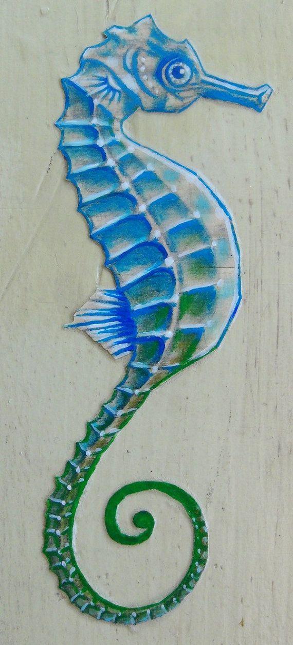 Drawn seahorse fish Mixed Wood Media Blue Oceanlife