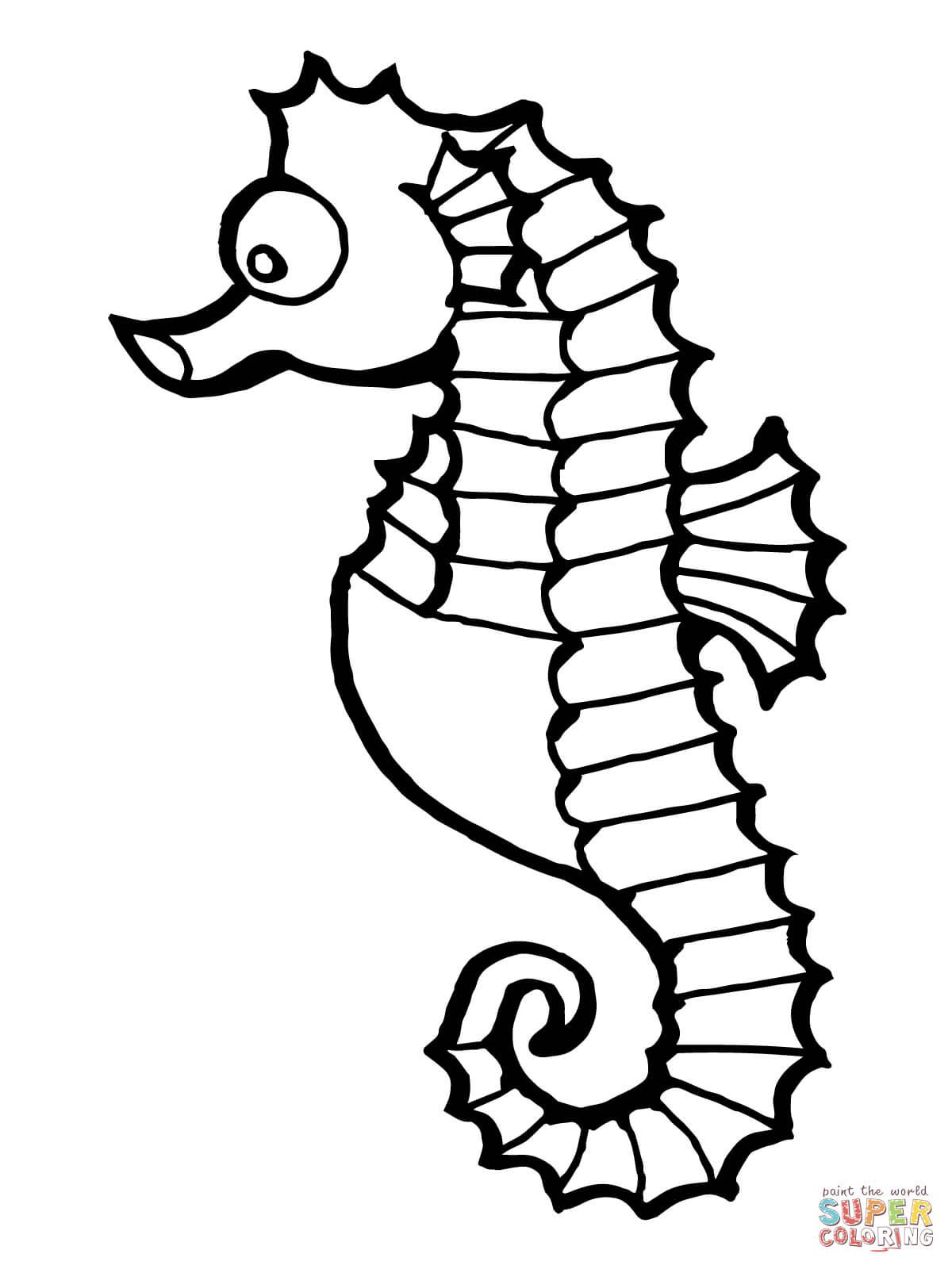 Drawn seahorse fish Coloring Fish page Click Free