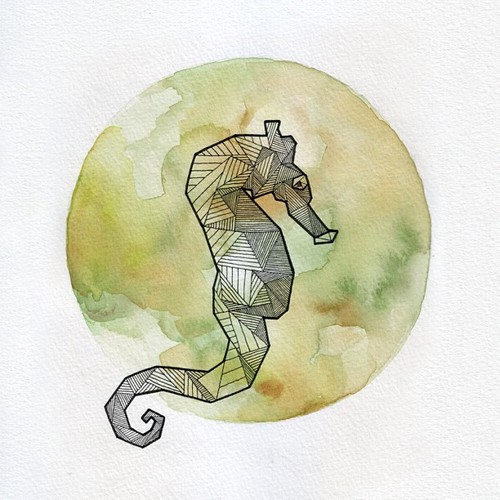 Drawn seahorse geometric Tumblr Allison Kunath via Geometric