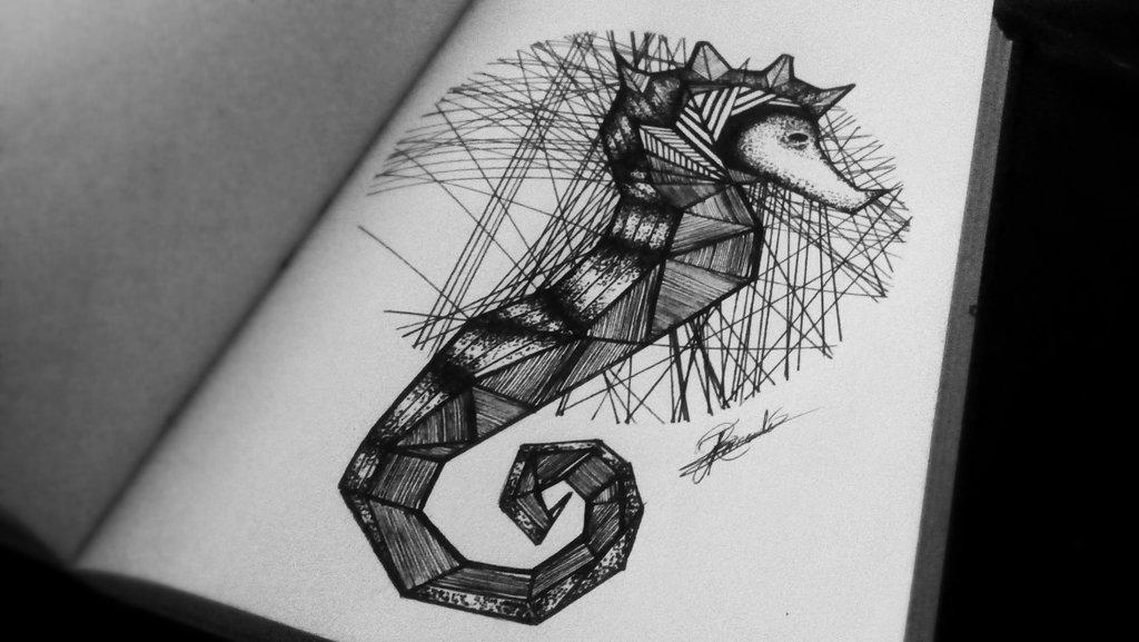 Drawn seahorse geometric On DeviantArt Seahorse by hydrabatgirl