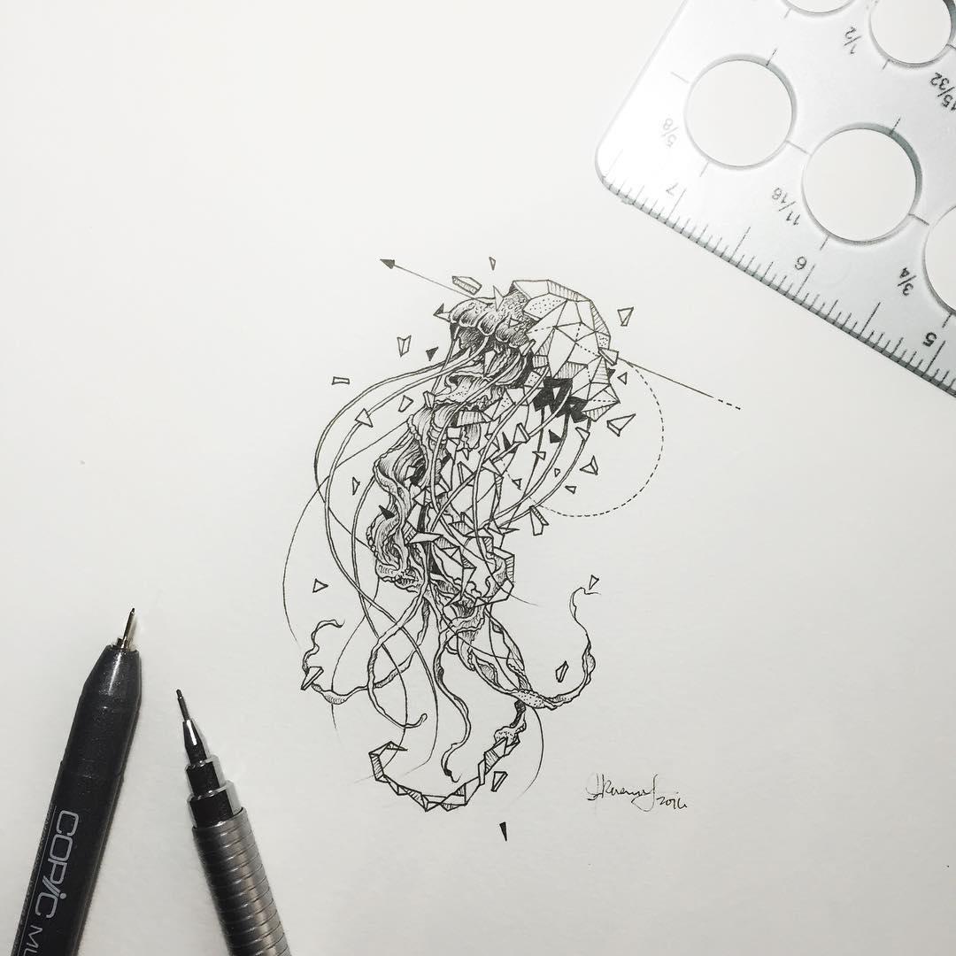Drawn seahorse geometric Jellyfish Beasts beasts Geometric Geometric