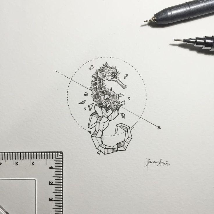 Drawn seahorse geometric On drawing ideas 25+ best