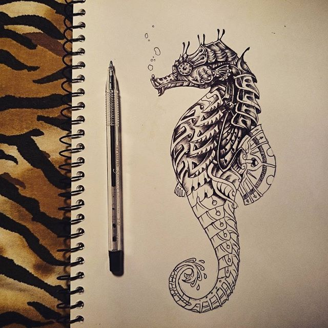 Drawn seahorse geometric Pen geometric drawing <span class=