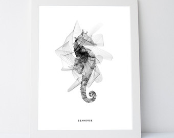 Drawn seahorse geometric Art nautical wall geometric seahorse