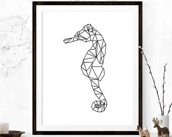 Drawn seahorse geometric Printable Wall Art Art seahorse