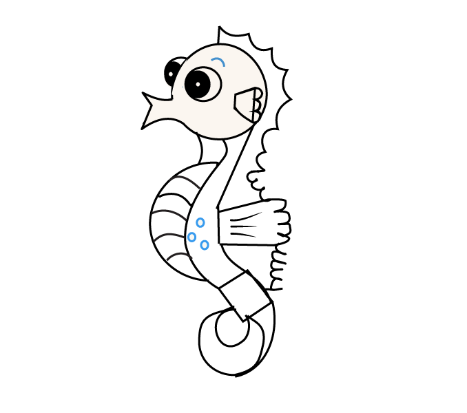 Drawn seahorse line drawing By How Step draw Drawing