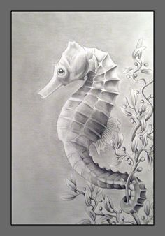 Drawn seahorse ocean animal Hippocampus me Drawing that sea