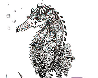 Drawn sea life seahorse And seahorse Print Black from