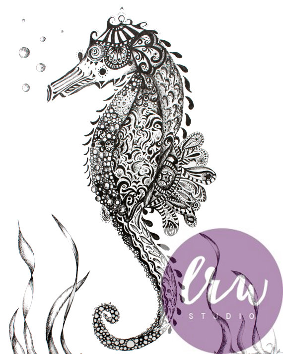 Drawn sea life seahorse And Art and Ink from
