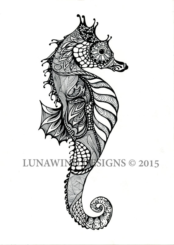 Drawn seahorse realistic And art pen Zentangle hand