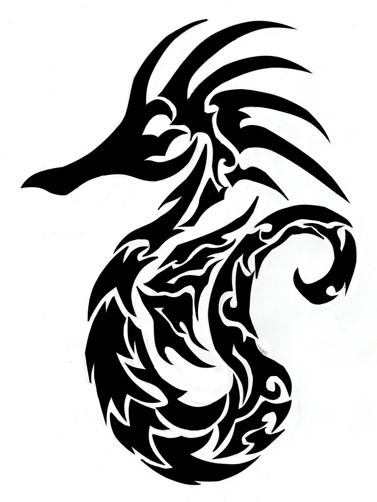 Drawn seahorse tribal Designs Tattoo Tattoo Finished and