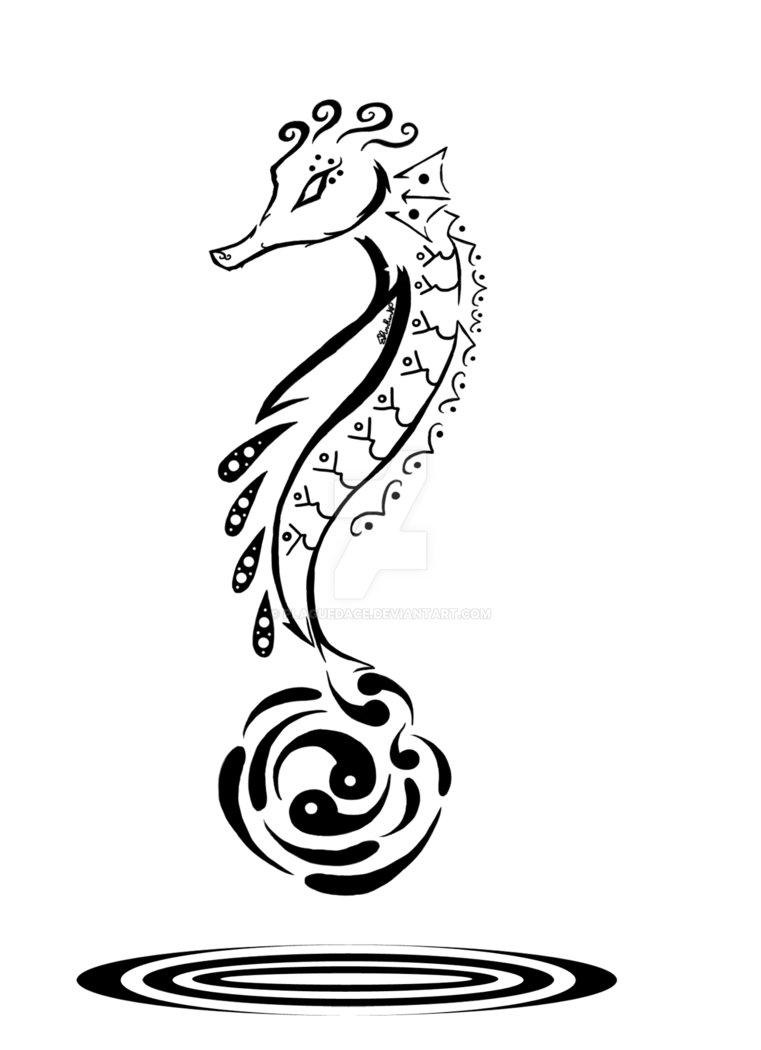 Drawn seahorse tribal Tribal Tribal Seahorse Drawing Drawing