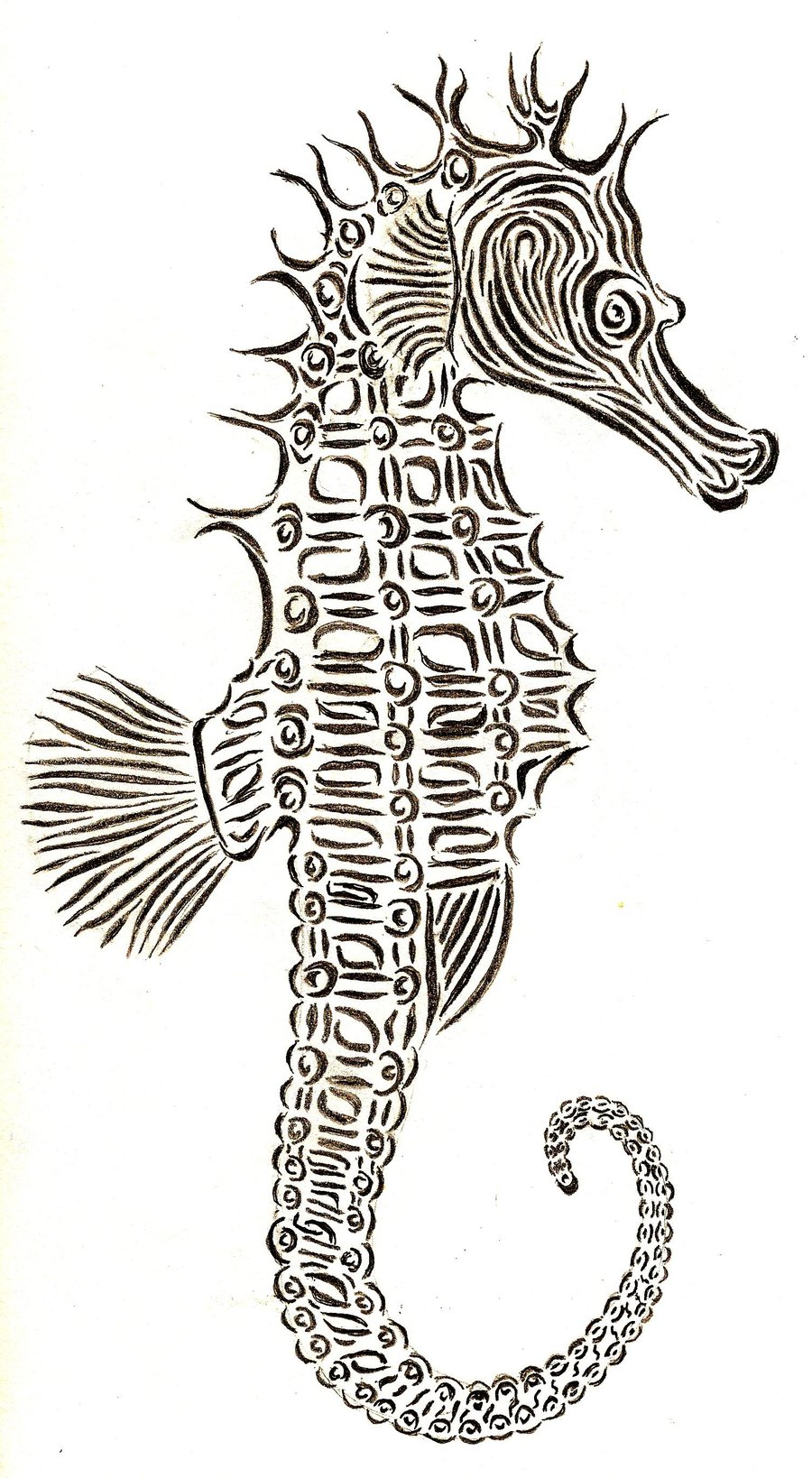 Drawn seahorse tribal Drawing Tribal Tribal Drawing seahorse