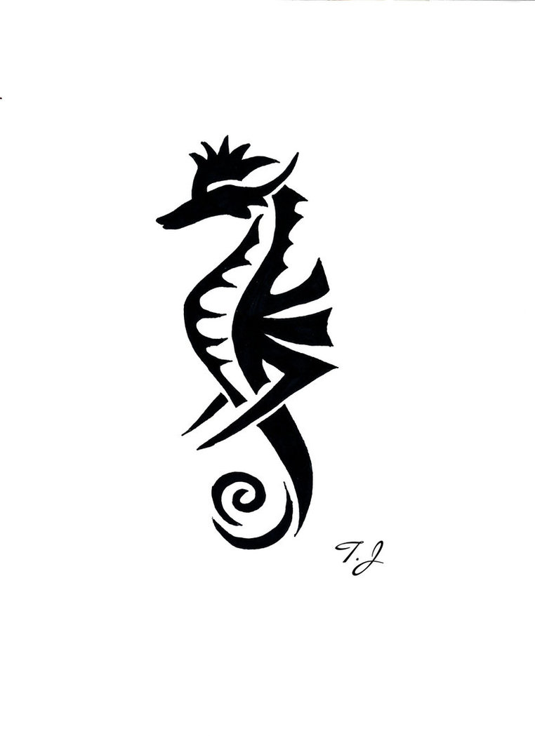 Drawn seahorse tribal Seahorse Tribal Silgan  Drawing