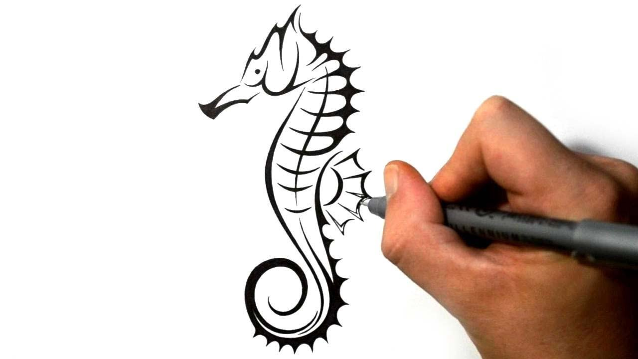 Drawn seahorse tribal Seahorse Tattoo Style Draw Tribal