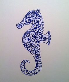 Drawn seahorse watercolor Blue Buscar 5x7 con Painting