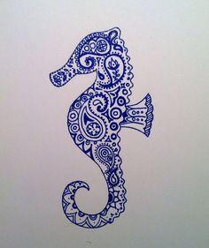 Drawn seahorse watercolor Buscar Archival Seahorse con Painting