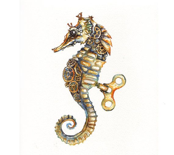 Drawn seahorse watercolor 136 Original on Painting Seahorse