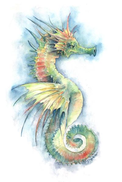 Drawn seahorse watercolor Seahorse I Half I Dragon