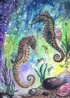 Drawn seahorse watercolor And and seahorse A3 batik