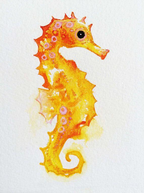 Drawn seahorse watercolor Art ideas Seahorse Original Best