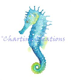 Drawn seahorse watercolor Art Turquoise Etsy Seahorse $15