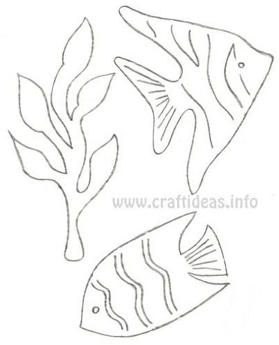 Drawn seaweed under sea 500 and Fish and the