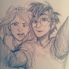 Drawn selfie Adorable The Harry Ginny out