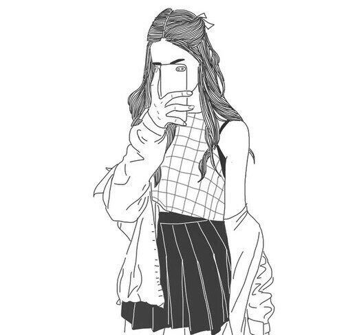 Drawn selfie black line Tumblr outlines and Pinterest tumblr
