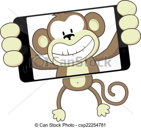Drawn selfie funny cartoon Vector selfie Vector monkey photographing
